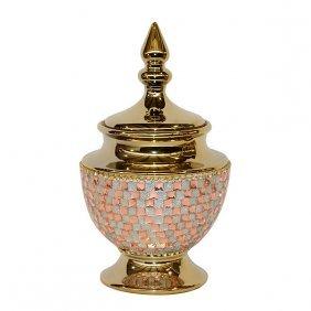 Rose Crystal & Gold Lidded Jar