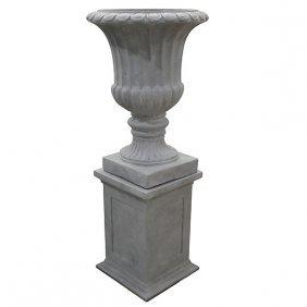 Greystone Vase On Pedestal