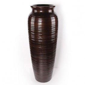 Copper Ribbed Vase