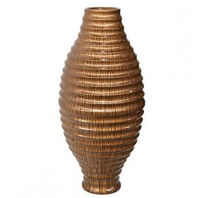 Copper Drizzle Ribbed Vase