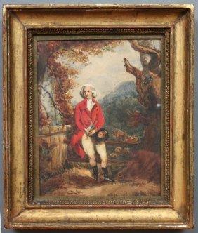 19th C. English Hunt Motif Watercolor