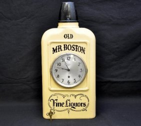 Early Old Mr. Boston Whiskey Clock