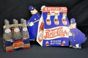 Pepsi-Cola Sign & Bottles Lot