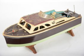 Japanese Battery Op Wood Boat