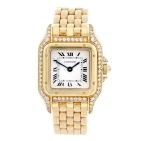 Cartier - A Panthere Bracelet Watch. Diamond Set 18ct