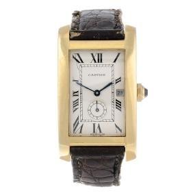 Cartier - A Tank Americaine Wrist Watch. 18ct Yellow
