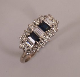 Diamond And Sapphire Cocktail Ring With A Central