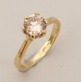18ct Gold Single Stone Round Brilliant Diamond Set