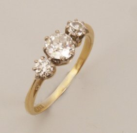 Three Stone Old European Cut Diamond Ring, With A