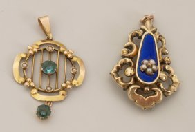 Two Pendants To Include A Seed Pearl And Enamel Pen