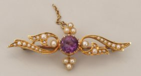 15ct Gold Amethyst And Seed Pearl Bar Brooch With C