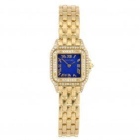 An 18k Gold Quartz Lady's Cartier Panthere Bracelet
