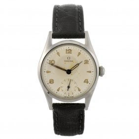 A Stainless Steel Manual Wind Omega Wrist Watch.
