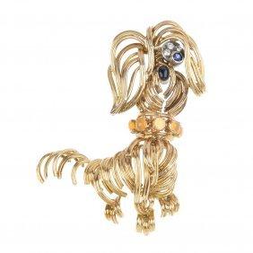 A 1970s 18ct Gold Gem-set Dog Brooch.