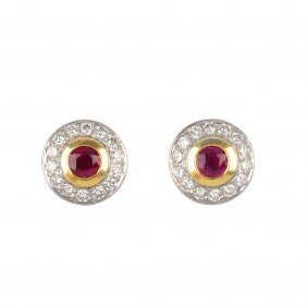 A Pair Of 18ct Gold Ruby And Diamond Cluster Ear St
