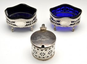 Victorian Silver Pair Of Open Salts & A Slightly Later