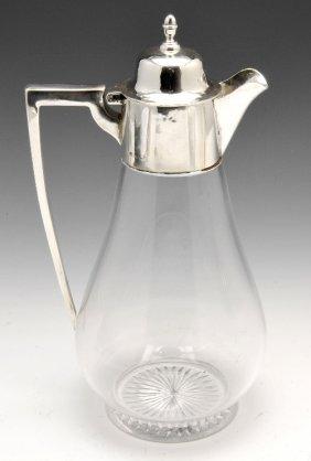 Edwardian Silver Mounted Glass Claret Jug.