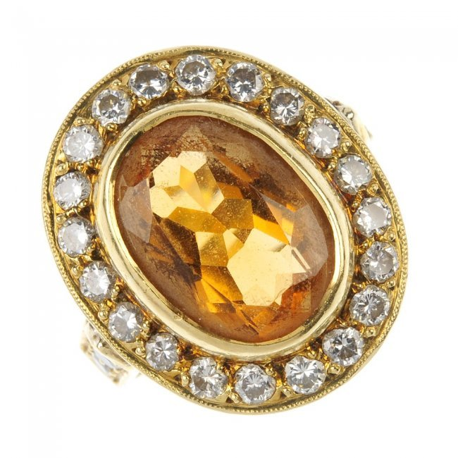 A citrine and diamond cluster ring Lot 502