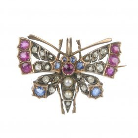 A Late 19th Century Silver And Gold Diamond, Ruby,