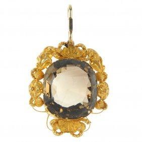 A Late 19th Century Gold Citrine Pendant.