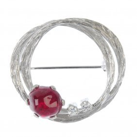 A 1970s Ruby And Diamond Brooch.