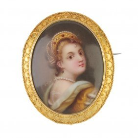 A Late 19th Century 18ct Gold Painted Portrait Brooch.