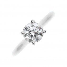 Cartier - An 18ct Gold Diamond Single-stone Ring.