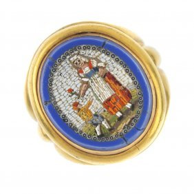 A Late 19th Century Gold Micro Mosaic Ring.
