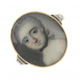A Late 18th Century Gold Portrait Miniature Ring.
