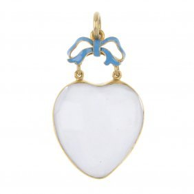 A Late 19th Century Gold Rock Crystal Enamel And Quartz