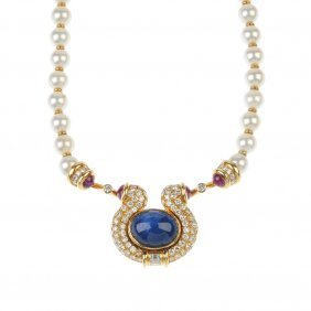 A Sapphire, Diamond, Ruby And Cultured Pearl Necklace.