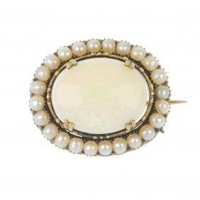 An Opal And Split Pearl Brooch.