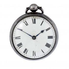 An Open Face Pocket Watch By Allam. Silver Case,
