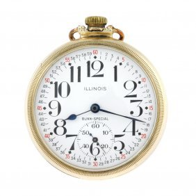 An Open Face Railway Grade Pocket Watch By Illinois
