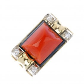 (185131) A Coral, Diamond And Onyx Cocktail Ring.