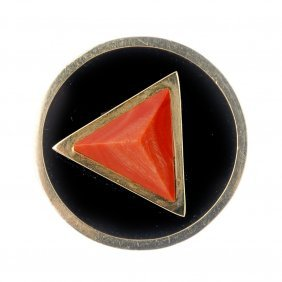 (185530) A Coral And Onyx Dress Ring. Of Abstract