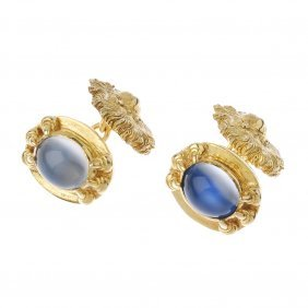 (188702) A Pair Of Moonstone Gold Plated Silver