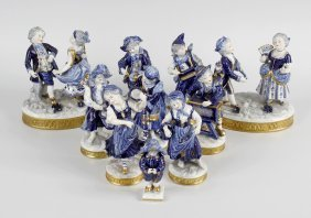 A Large Group Of German Porcelain Figurines, Circa