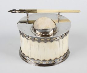 An Ivory And Silver Plated Inkstand, Of Oval Form, The