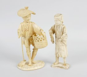 A Japanese Carved Ivory Okimono Modelled As A Gardener,