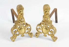 A Pair Of Cast Brass Fire Dogs, Each Having Classical