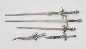 Four Marto Toledo Replica Swords And Knives, To Include