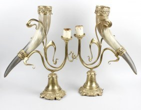 An Unusual Pair Of Brass And Ox Horn Table Lamps. Each