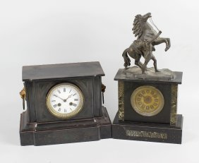 A Victorian Black Slate Cased Mantel Clock, The Case Of