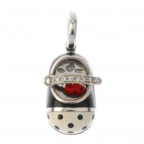 Aaron Basha - An 18ct Gold Diamond And Enamel Charm.