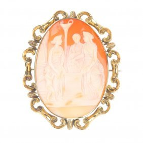 A Late 19th Century Shell Cameo Brooch. The Oval Shell