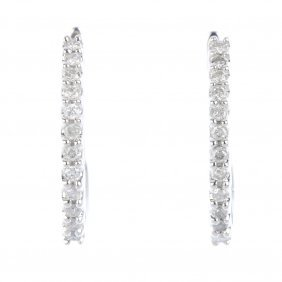 A Pair Of 14ct Gold Diamond Ear Hoops. Each Designed As