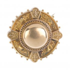A Late Victorian Gold Brooch, Circa 1880. Of Target