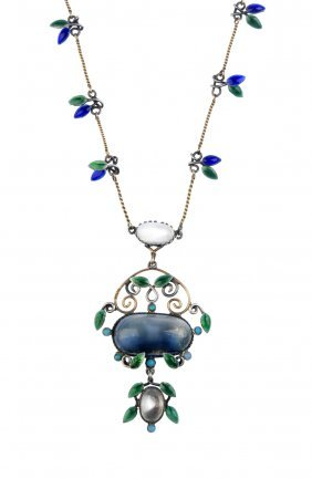 An Arts And Crafts Silver, Enamel And Moonstone