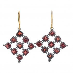 A Pair Of Garnet Earrings. Designed As A Lattice Of